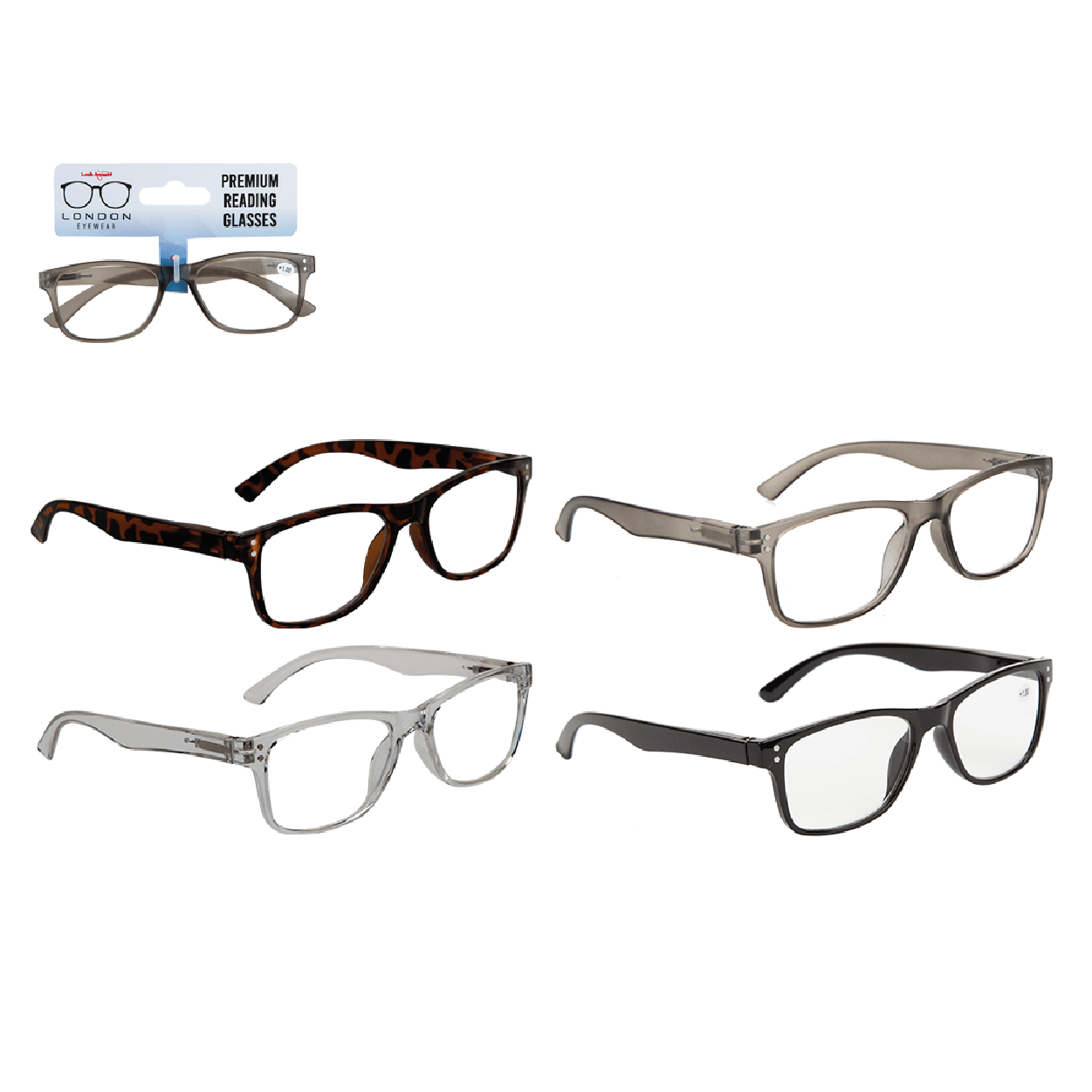 Rectangle Reading Glasses - 5 Strengths - only5pounds.com