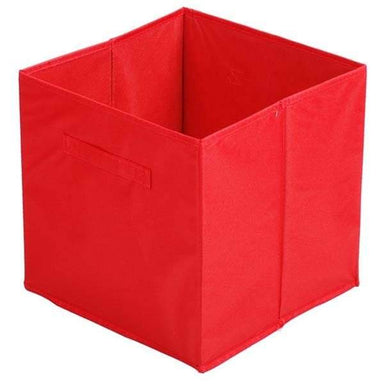 Red Fabric Cube Storage Box - 31 x 31cm - only5pounds.com