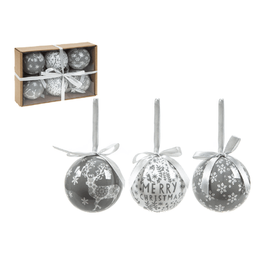 Set of 6 Baubles - Delicate Grey - only5pounds.com