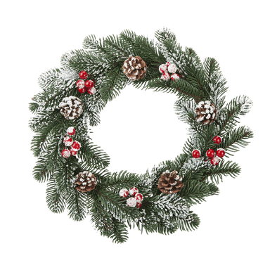 Snow Pine and Berry Wreath - 35cm - only5pounds.com