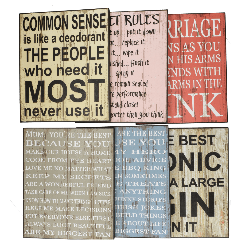 Vintage Style Funny Slogan Wooden Decorative Signs - Assorted Designs - only5pounds.com