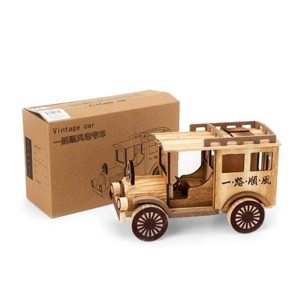 Wooden Vintage Safari Toy Jeep - 25CM - only5pounds.com