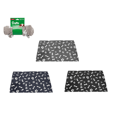 Crufts Coral Fleece Blanket Assorted - 50 x 75cm - only5pounds.com