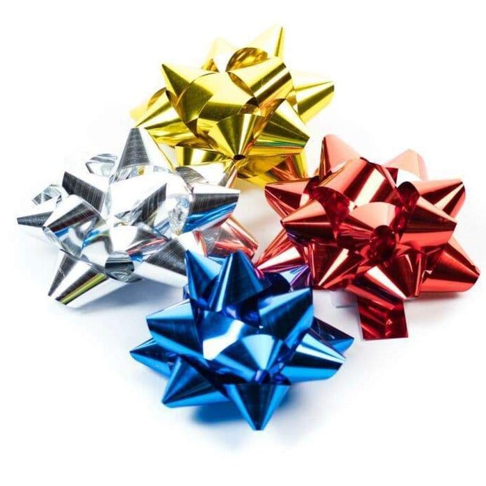 Decorative Metallic Gift Wrap Bows 5cm - Assorted Metallic Spots (approx 50) - only5pounds.com