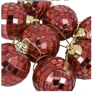 Disco Mirror Christmas Baubles (7cm- Red - set of 6) - only5pounds.com