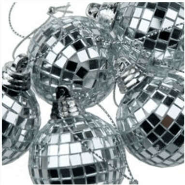 Disco Mirror Christmas Baubles (7cm - Silver-set of 6) - only5pounds.com