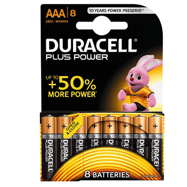 Duracell Plus Power AAA -  8 Pack - only5pounds.com