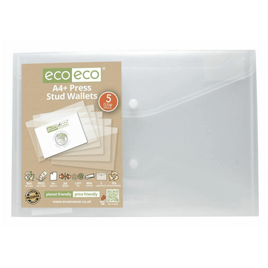 Eco A4+ 95% Clear Recycled Press Stud Wallets Envelope Folders - 5 Pack - only5pounds.com