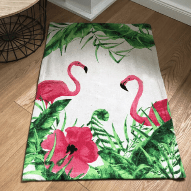 Flamingo & Leaf Printed Cotton Rug - 60 x 90cm - only5pounds.com