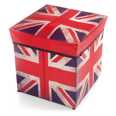 Folding Storage Box Padded Ottoman Union Jack -  30CM - only5pounds.com