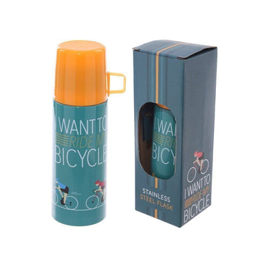 Funky Flask With Cup 350ml - I Want To Ride My Bicycle - only5pounds.com