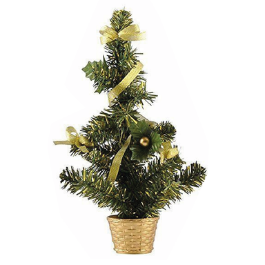 Gold Decorated Christmas Tree Gold - 36cm - only5pounds.com