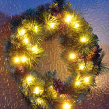 LED Wreath With Pine Cones - 45cm
