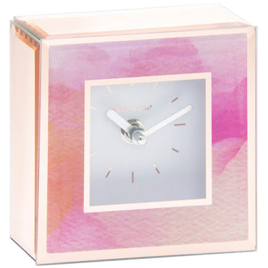Pink Watercolour Glass Clock - 14cm 5010792434643