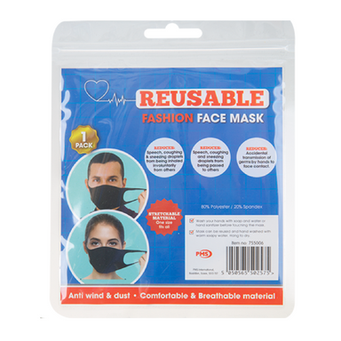 Reusable Spandex Face Mask - 1 pack (Black) - only5pounds.com