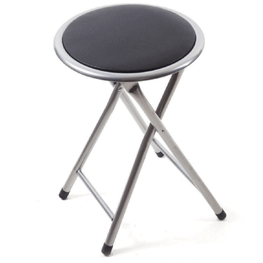 Round Padded Folding Stool - Black - only5pounds.com