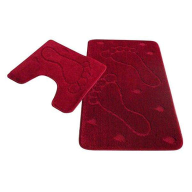 Foot Print Red Bath Mat and Pedestal Set - only5pounds.com