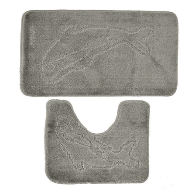 Grey Dolphin Print Bath and Pedestal Set Mat - only5pounds.com