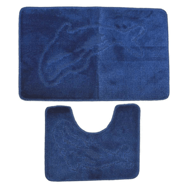 Navy Dolphin Print Bath and Pedestal Set Mat - only5pounds.com
