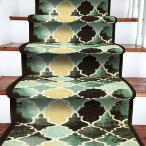 Stair Runner / Kitchen Mat - Decor Blue/ Green - (Custom Sizes Available - Cut to order)