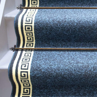 Stair Runner / Kitchen Mat - Greek Blue - (Custom Sizes - Cut To Order) - only5pounds.com