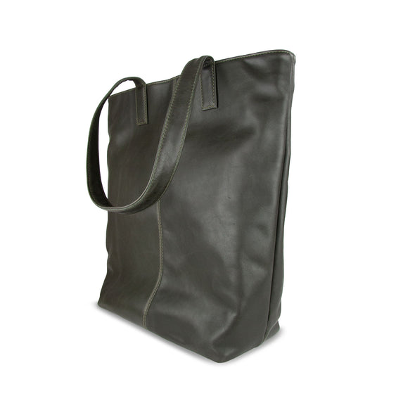 Toffee Leather Tote bag side - Olive