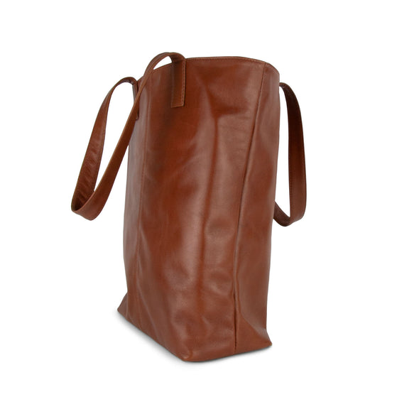 Toffee Leather Tote bag side - Tan