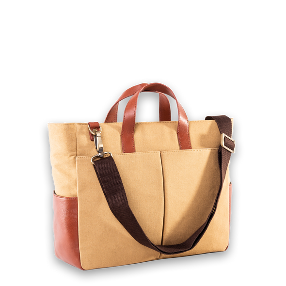 Toffee Tokyo Work Bag Mustard with Shoulder Strap