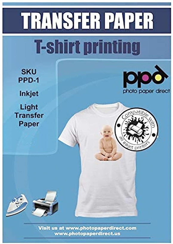 "PPD Inkjet Iron-On Light T Shirt Transfers Paper LTR 8.5x11"" Pack of 10 Sheets"