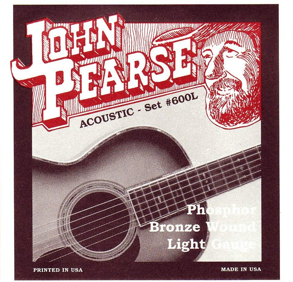 John Pearse 600L Phosphor Bronze Light Acoustic Guitar Strings .012-.053