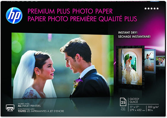 HP Premium Plus Photo Paper, High Gloss (25 Sheets, 11 x 17 Inches)