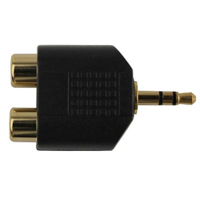 CONSTRUCT PRO DUAL RCA FEMALE TO 3.5-MM MALE GOLD-PLATED AUDIO ADAPTER - BLACK