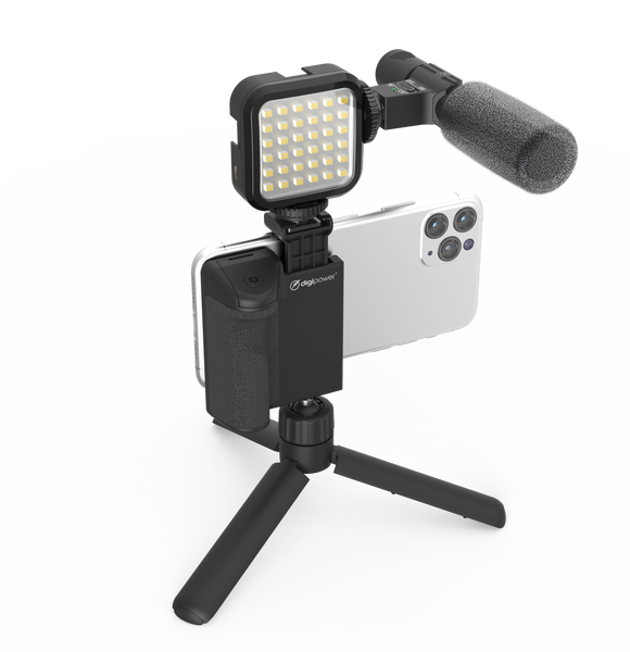Digipower Follow me Vlogging Kit  - Mic/Light/Grip/Tripod/Remote