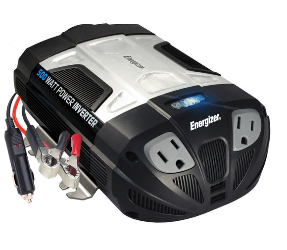 Energizer 500 Watt Power Inverter-4 Device -Use w/Cigarette or Battery Cable NIB