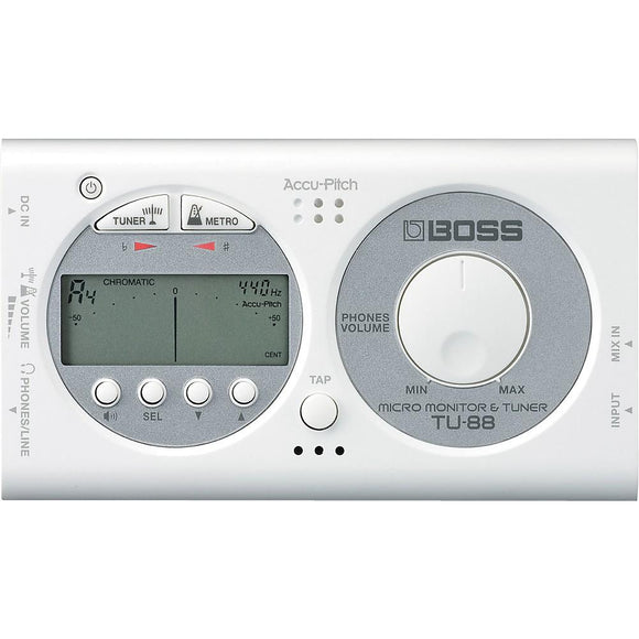 BOSS TU-88WH Micro Monitor & Tuner for Guitar and Bass (White) - Perth PC