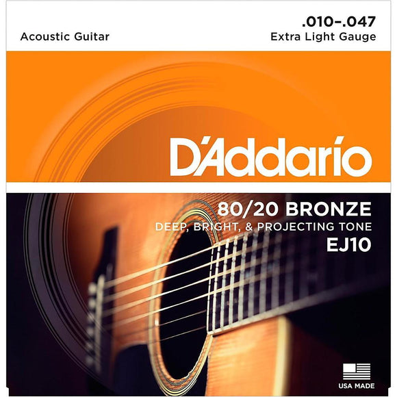 D'Addario EJ10 Bronze Acoustic Guitar Strings, Extra Light, 10-47 - Perth PC