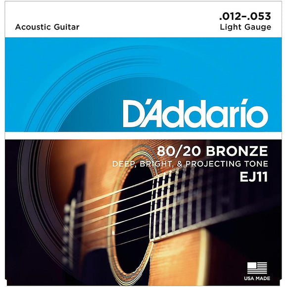 D'Addario EJ11 80/20 Bronze Acoustic Guitar Strings, Light, 12-53 Multi-Colored - Perth PC