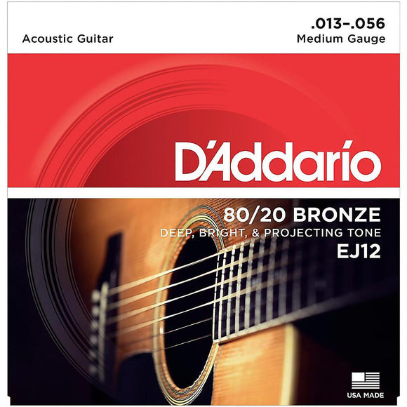 D'Addario EJ12 80/20 Bronze Acoustic Guitar Strings, Medium, 13-56 - Perth PC
