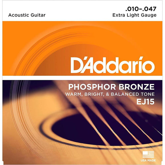 D'Addario EJ15 Phosphor Bronze Acoustic Guitar Strings, Extra Light, 10-47 - Perth PC