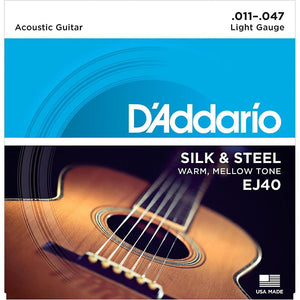 D'Addario EJ40 Silk & Steel Folk Guitar Strings, 11-47 - Perth PC