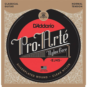 D'Addario EJ45 Pro-Arte Nylon Classical Guitar Strings, Normal Tension Multi-Colored - Perth PC
