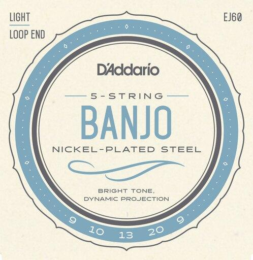 D'Addario EJ60 Nickel 5-String Banjo Strings, Light, 9-20 - Perth PC