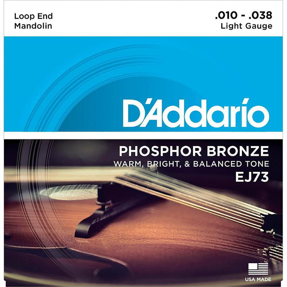 D'Addario EJ73 Phosphor Bronze Mandolin Strings, Light, 10-38 - Perth PC