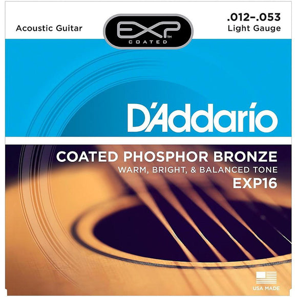 D'Addario EXP16 Coated Phosphor Bronze Acoustic Guitar Strings, Light, 12-53 - Perth PC