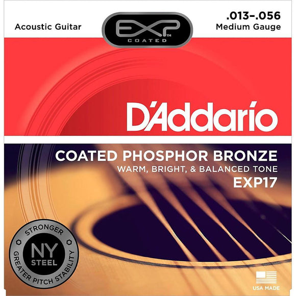 D'Addario EXP17 Coated Phosphor Acoustic Guitar Strings, Medium, 13-56 - Perth PC