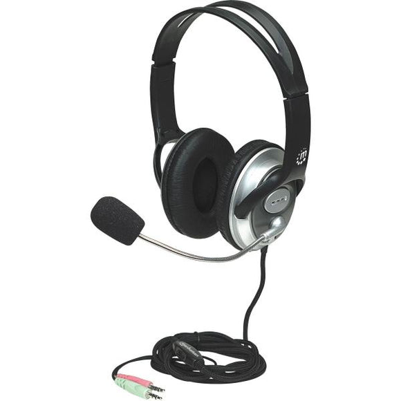 MANHATTAN Classic Stereo Headset with Flexible Metal Boom Microphone and In-Line Volume Control (175555) - Perth PC