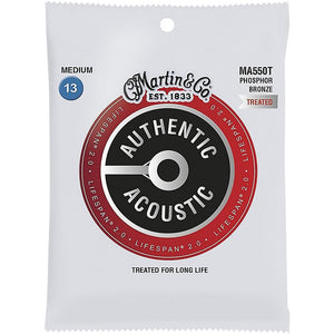 Martin Authentic Acoustic Treated Guitar Strings Medium 13-56 - Ma550t - Perth PC