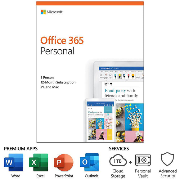 Microsoft Office 365 Personal 12-month subscription, 1 person, PC/Mac Key Card - Perth PC