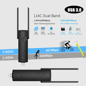 USB 3.0 Long Range 2.4G 5GHz 8G Dual Band 5GHz Wireless WiFi Adapter