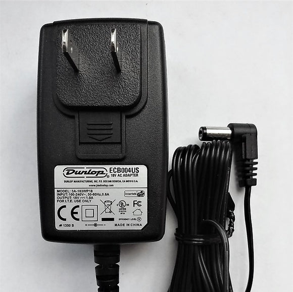 Dunlop ECB-004 18 Volt *1000mA Power Supply Adaptor 18v AC Adaptor